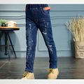 2017 New Fashion Elastic Waist Pants Jeans for Girls Regular Light Wash Kids Girls Children's Jeans Pants Trousers Girls p177