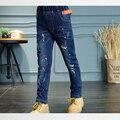 2017 Nova Moda de Cintura Elástica Calças Jeans para Meninas Regular Luz Lavagem Crianças Meninas calças de Brim das Crianças Calças Calças Meninas p177