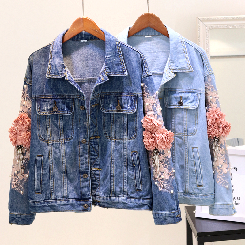 2020 Spring Autumn Denim Jacket Womens Fashion Beading Embroidery Flower Jeans Jackets Ladies Students Loose Casual Denim Coats