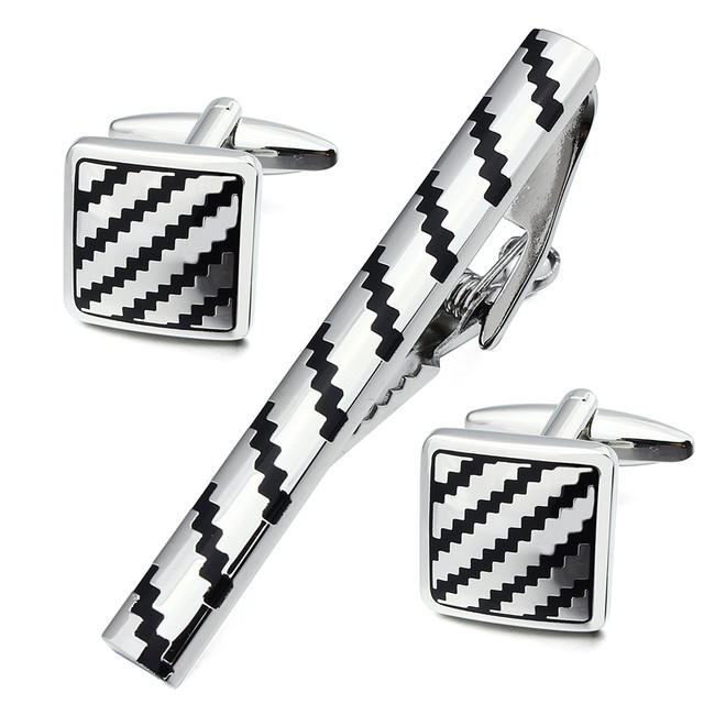 Fashionable Square Silver Man Shirt Cuff Links and Tie Bar Clips Set for Wedding and Business Accessories