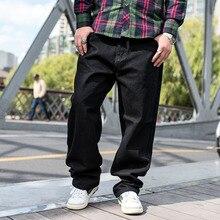 Мужская Весенняя уличная прямой покрой джинсы мужские негабаритных Жан Homme черный синий мужские свободные хип-хоп мешковатые джинсовые брюки 42 44 46