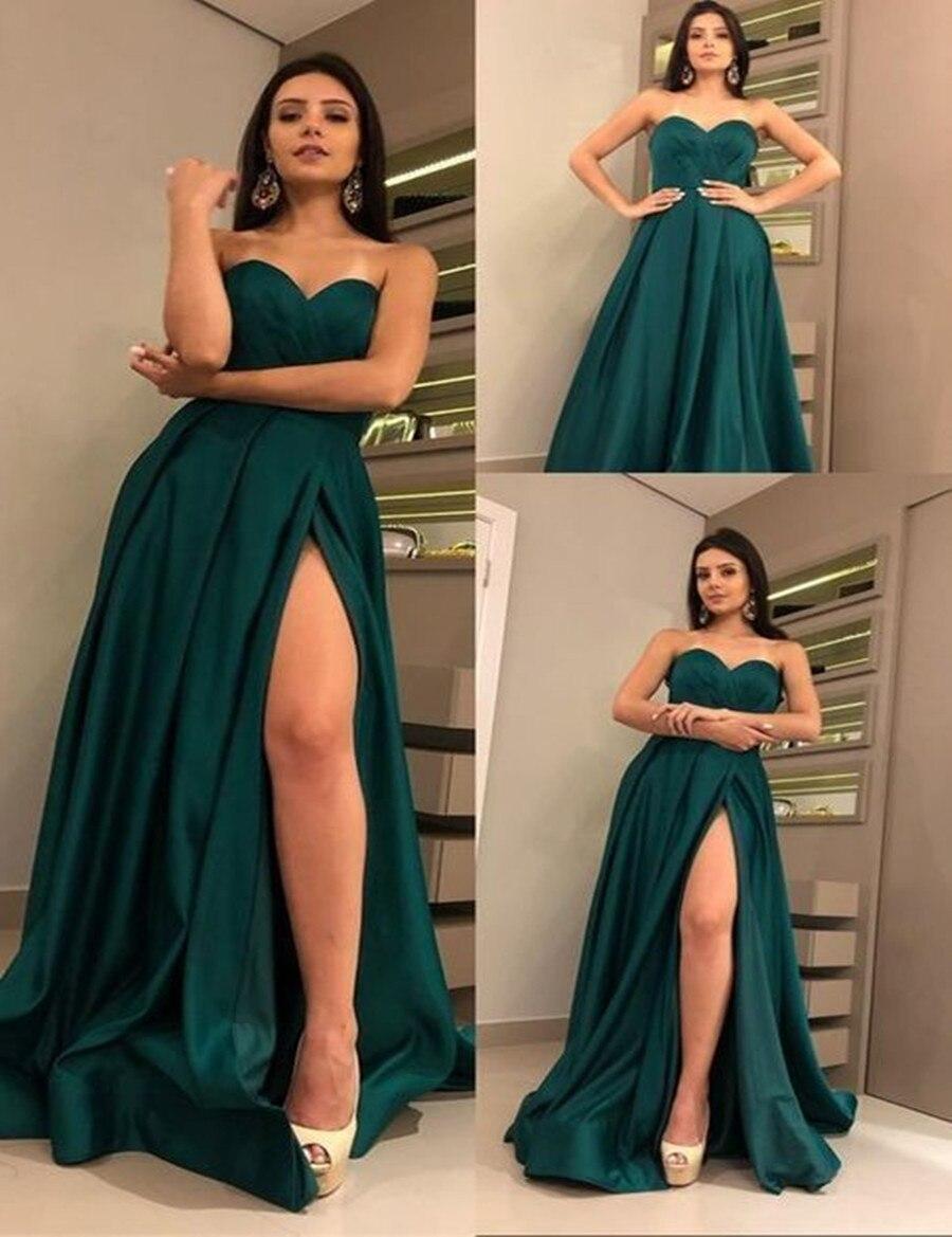 Simple Satin   Prom     Dresses   2019 Dark Green High Split Evening Party Formal   Dress     Prom   vestido de festa   Prom     Dress   robe de soiree