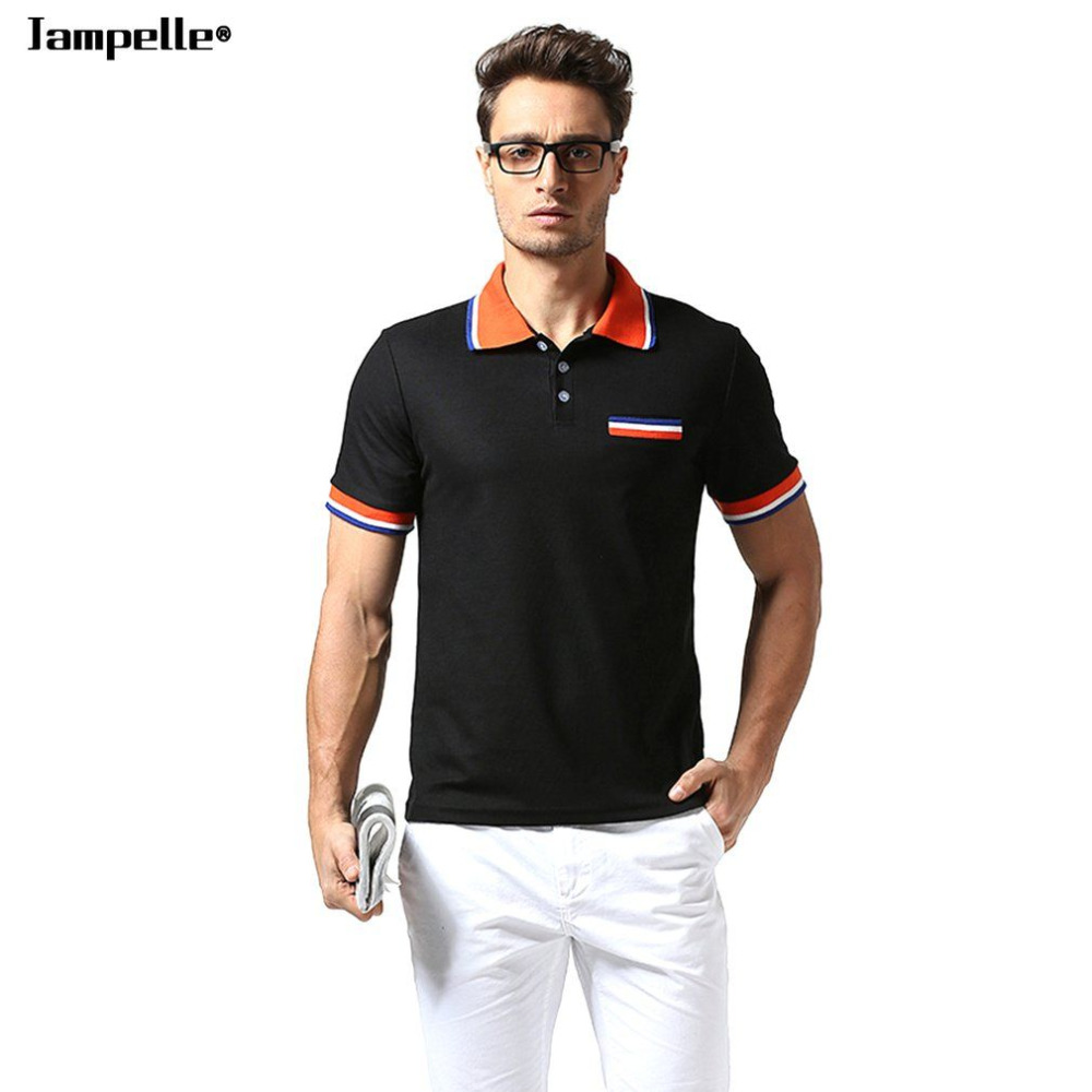 New Jampelle B40 Stitching Striped Lapel Simple Short Sleeve Breathable Cotton Polo Shirt Men Tops Jerseys Golfs Polo shirt