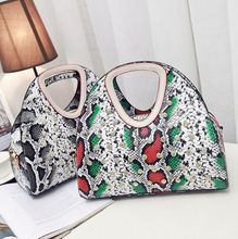 2016 temperament ladies bag personalized snake striking hit color handbag diamond new casual shoulder bag