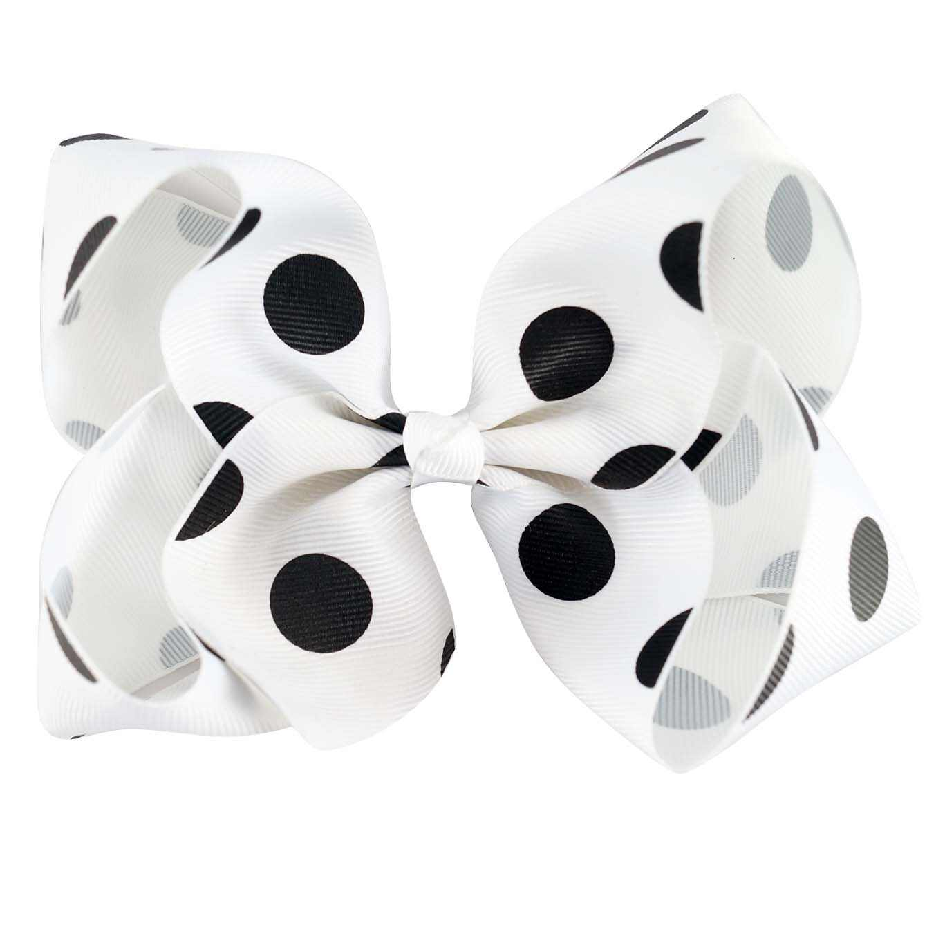 5 Inch Cute White Polka Dots Hair Bows With Clips Solid Printed Ribbon Bows Handmade Hairgrips For Girls Kids Hair Accessories