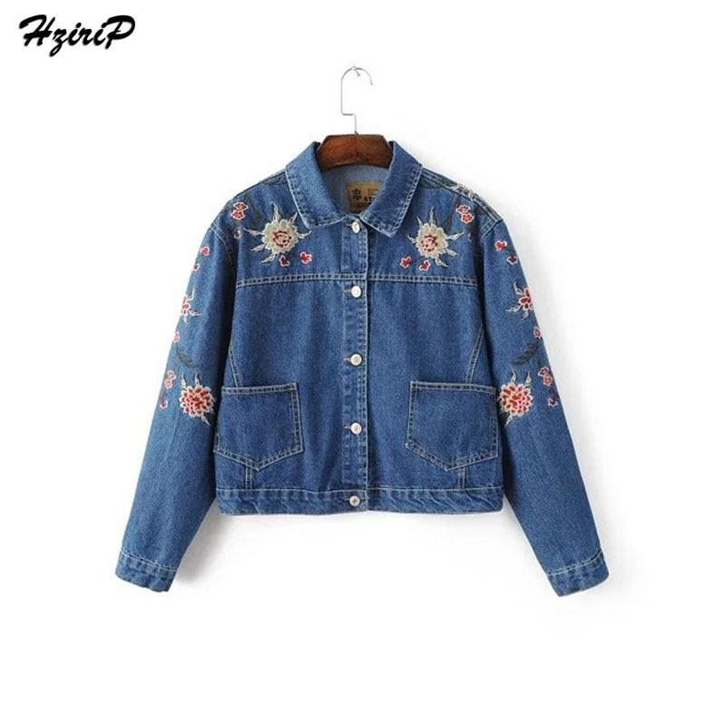 Hzirip New Arrival Casual Slim Women Denim Jacket Floral Embroidered <font><b>Jeans</b></font> Jackets Women Vintage Long <font><b>Sleeve</b></font> Coat Tops Outwear