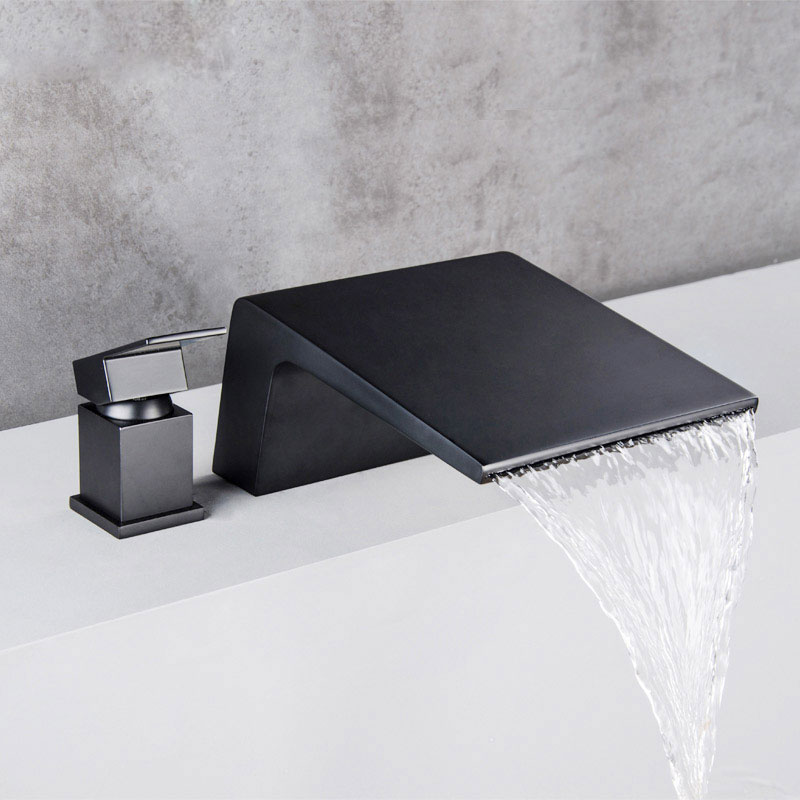 All copper hot and cold mixer water surface basin faucet two piece two hole basin faucet black bathtub waterfall suit