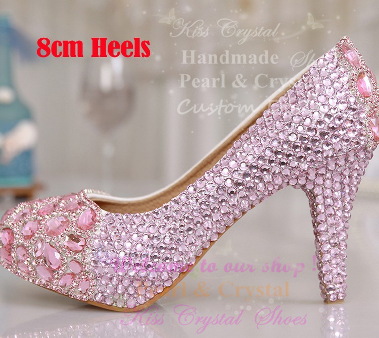 Free Shipping Luxury Handmade Crystal Shoes Rhinestone Blue Pink High Heel Wedding  Shoes Bridal Shoes Party Shoes-in Women s Pumps from Shoes on ... ec910d562aa1