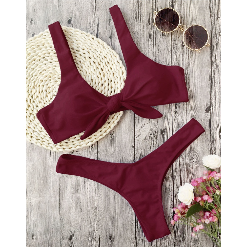 ZAFUL Bikini Knotted Padded Thong Bikini Set Women Swimwear Swimsuit Scoop Neck Solid High Cut Bathing Suit Brazilian Biquni 3
