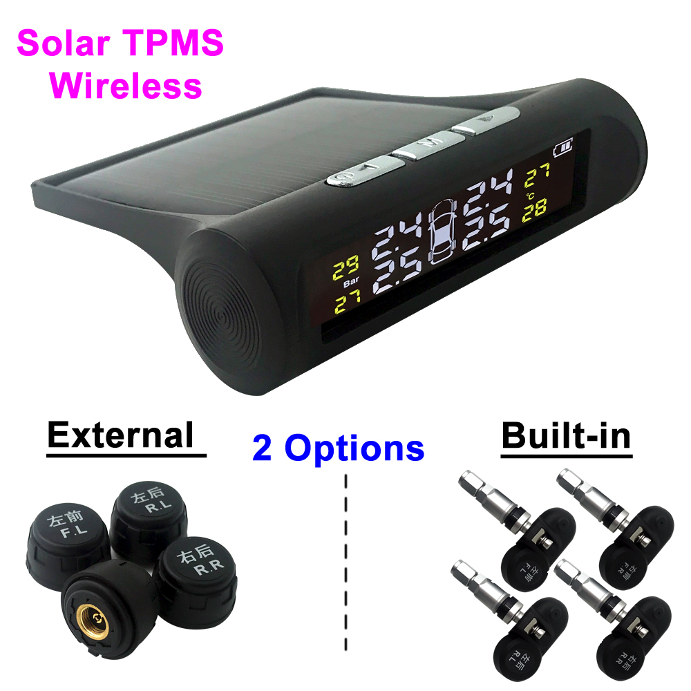 Solar Power Wireless TPMS Car Tire Pressure Monitoring System LCD Display Car Tire Pressure Alarm with