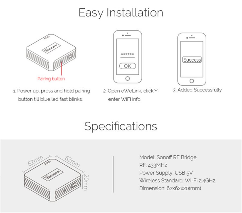 10---New Sonoff RF Bridge WiFi 433 MHz Replacement Home Automation Universal Switch Intelligent Domotica Wi-Fi Remote RF Controller-