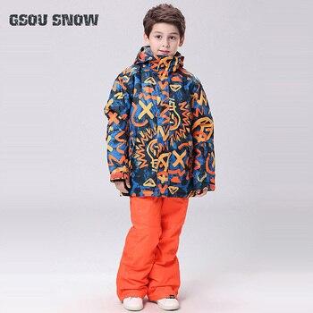 Gsou/зимняя детская Лыжная куртка + штаны, ветронепроницаемая водонепроницаемая Спортивная одежда для улицы, лыжный костюм для сноуборда, оче
