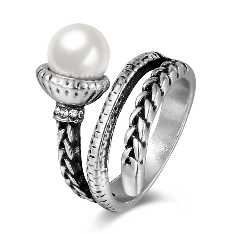 BUYEE Fashion Jewelry Antique Silver Color Rope Style Rings for Women Imitation Pearl Ring Party Accessories Bague Femme
