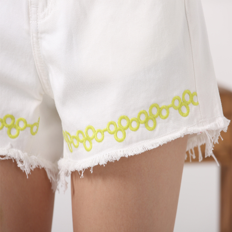 Las Mujeres Alta Mezclilla Simple Benevolente Borde Una Delgada Palabra Cintura Cortos Mono Viento Piernas Blanco Casuales De Amplia Pantalones Áspero xw8YYgqX