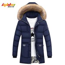 Mężczyźni zima futro kurtka Bio dół parki mężczyźni nowy 2018 moda na co dzień projektowe z kapturem długie grube ciepłe dół parki mężczyzna płaszcz M-3XL tanie tanio REGULAR COTTON Hat odpinany Poliester 1 1kg zipper Batik NONE Stałe M L XL 2XL 3XL 4XL Khaki Red Black Blue Green winter jacket for men