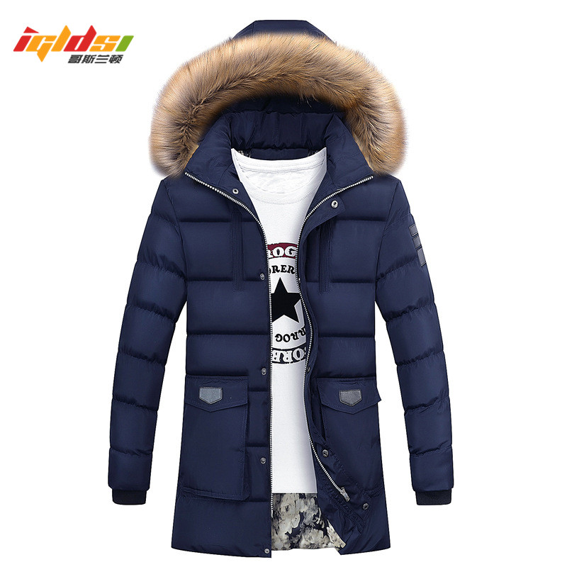 US $31.99 30% OFF|Men Winter Fur Jacket Bio Down Parkas Men New 2018 Fashion Casual Design Hooded Long Thick Warm Down Parkas Male OverCoat M 3XL in