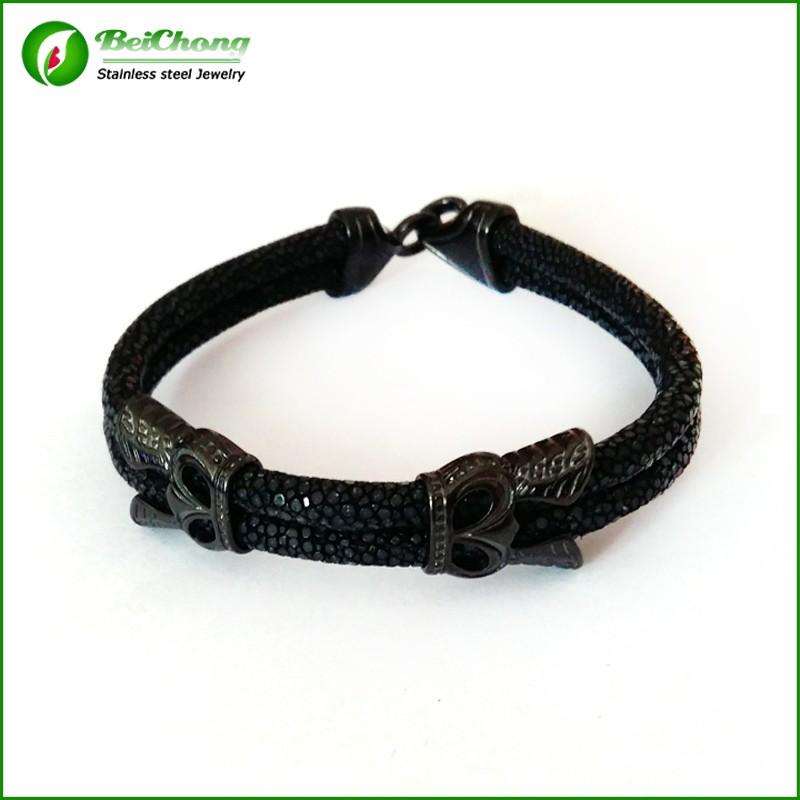 -10pcs-Fashion-Men-Leather-Jewelry-5mm-Width-Black-Leather-Stingray-Silver-Hook-Buckle-Bracelet-Bangle (3)