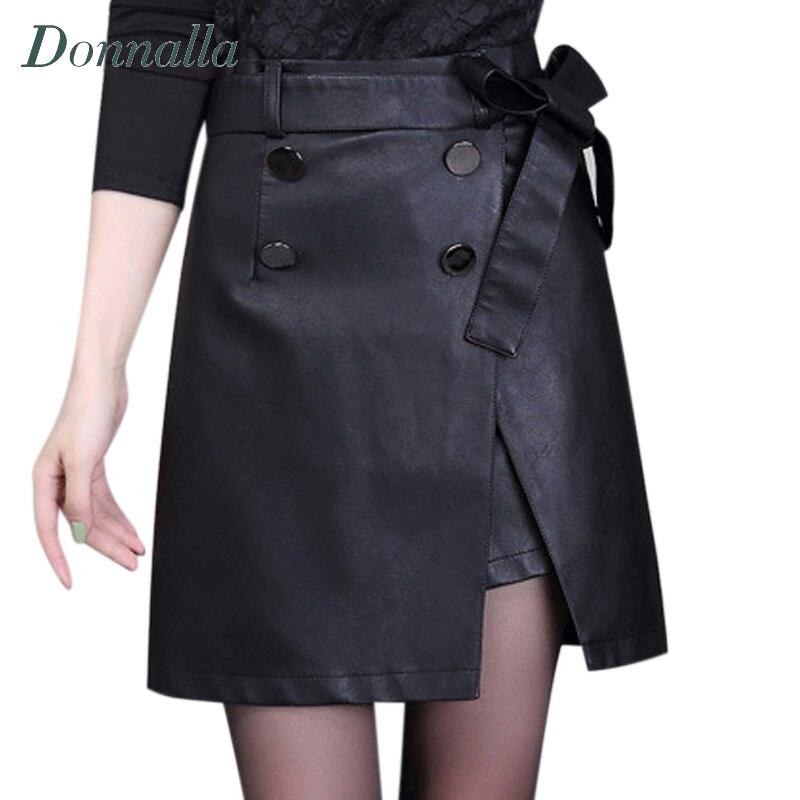 5a0417cad329 Femmes Jupe Printemps Automne Travail Dames À Double Boutonnage Asymétrique Jupes  Femme PU Cuir Taille Haute Jupes Courtes