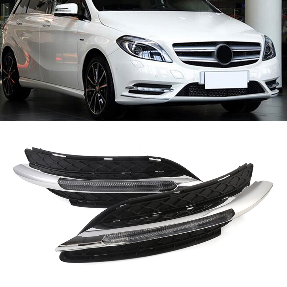 High Quality Car LED White DRL Driving Daytime Running Light Fog Lamp Daylight Amber Turn For Benz W246 B200 B180 11-14 D35 1 pair 12 led strip flexible snake style eagle eye car drl daytime running light driving daylight safety day fog lamp