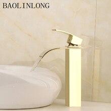 Gold Brass Basin Bathroom Faucets Tap Deck Mount Vanity Vessel Sinks Mixer Waterfall Faucet стоимость