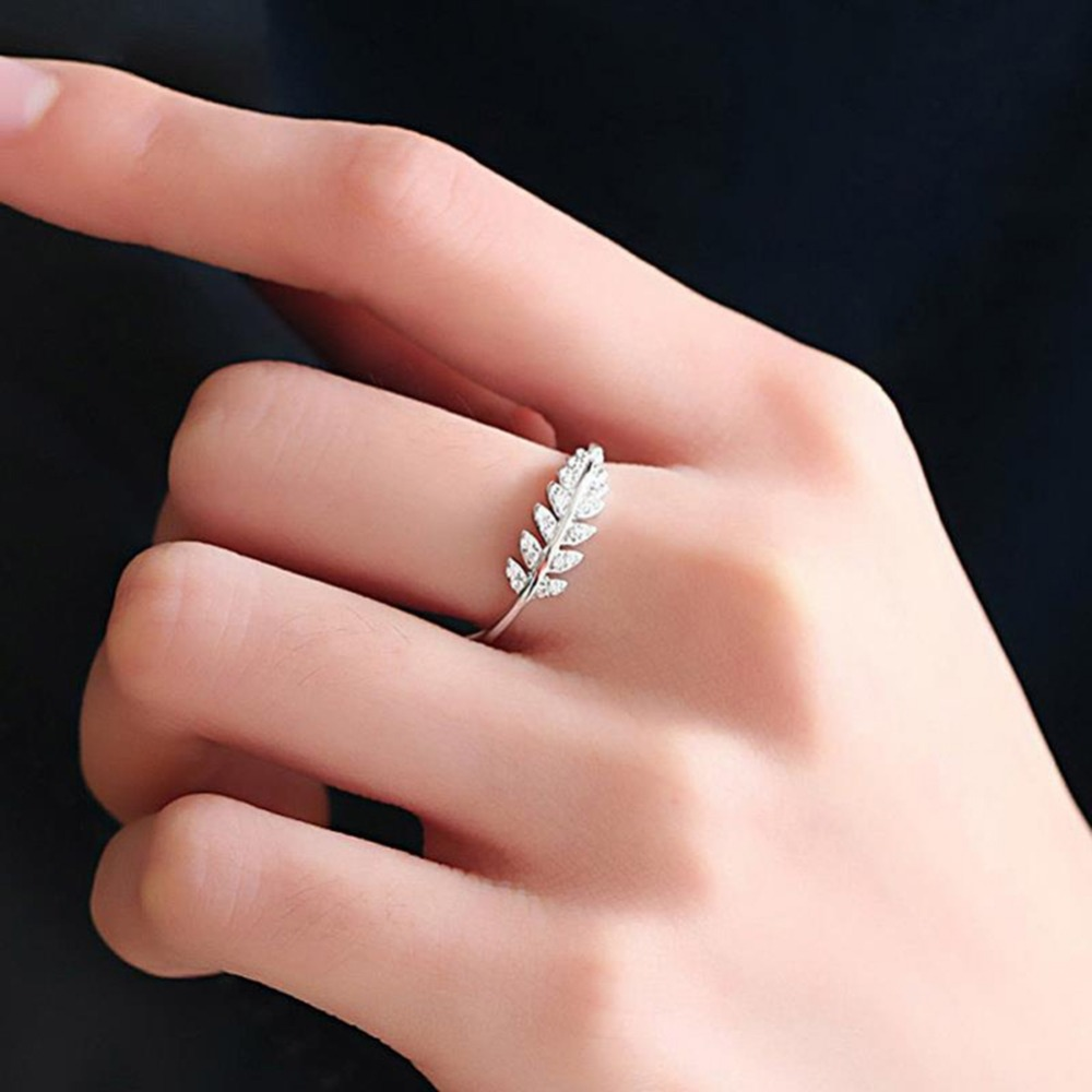 Two Color Leaves Female Opening Tail Crystal Rings People Index ...
