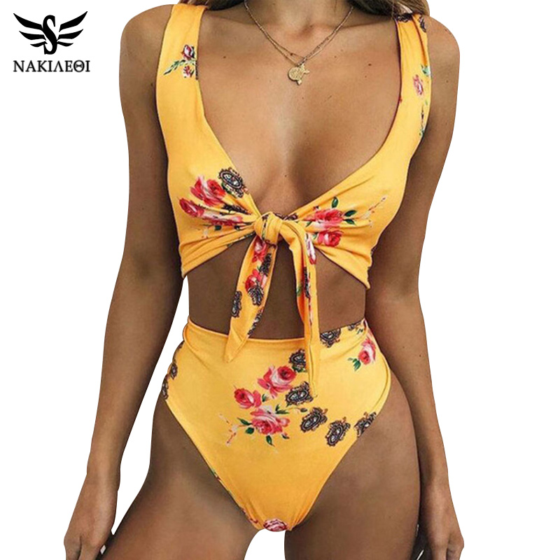 NAKIAEOI High Waist Swimsuit 2019 New Sexy Print Bikinis Women Swimwear Push Up Bathing Suit Beach Wear Brazilian Bikini Set