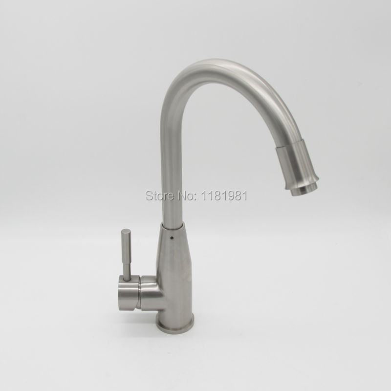 304 Stainless Steel Brushed Nickel Hot Cold Water Kitchen Sink Faucet Mixer Tap 805 07