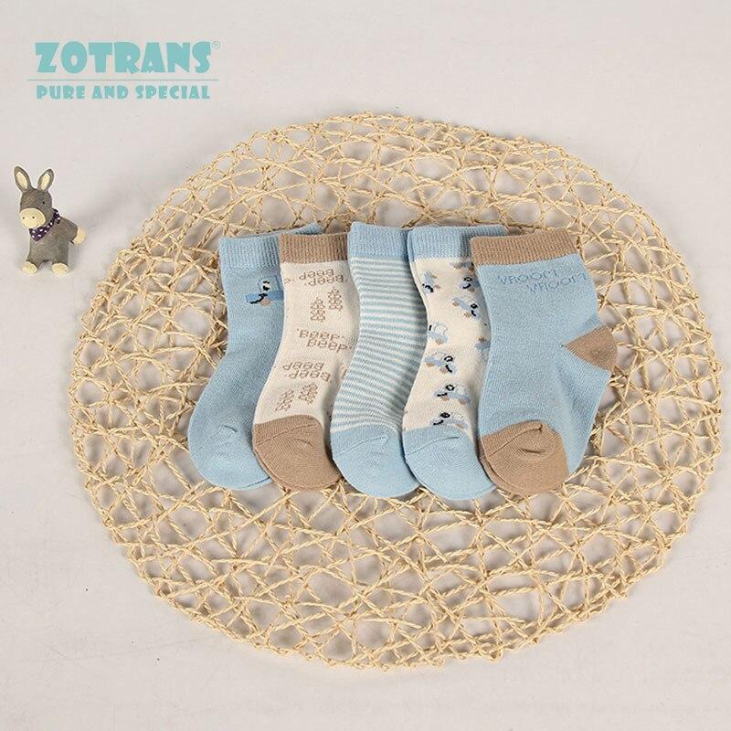 5 Paris/lot Baby Socks Set Childrens Socks Cartoon Blue Striped Unisex Soft Cotton Socks Kids Socks Boys Girls for 0-2years ...