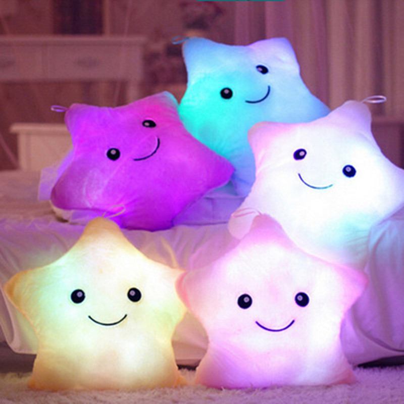 1pcs Led Light Pillow Luminous Pillow Plush Toys Hot Colorful Stars Kids Toys Birthday Gift 38cm Ample Supply And Prompt Delivery Toys & Hobbies Plush Light - Up Toys