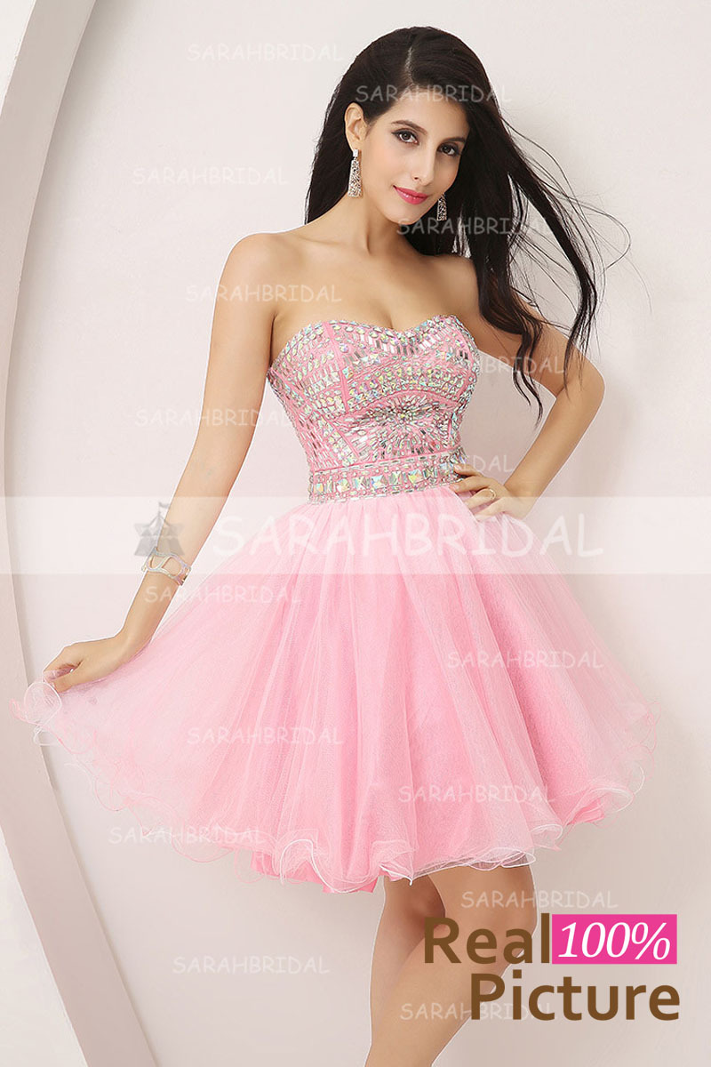 Aliexpress.com : Buy In Stock Beaded Short Pink Prom Dresses 2015 ...