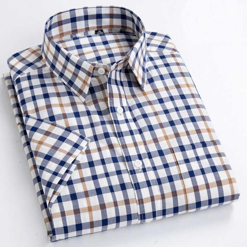 MACROSEA 夏の半袖チェック柄シャツのファッションの男性カジュアルシャツ綿 100% スリムフィットシャツプラスサイズ S-8XL