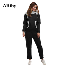 ARiby Women Leisure Sports Two-piece Suit 2019 Autumn and Winter New Fashion Long Sleeve Hooded Sweater Sports Suit Plus Velvet