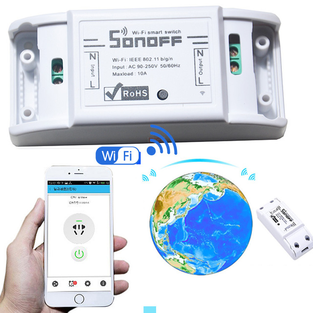 sonoff dc220v Remote Control Wifi Switch Smart Home automation/ Intelligent  wireless Center for light 10A/2200W