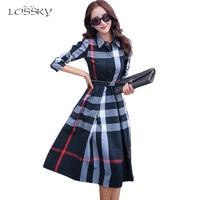 Lossky 2016 office autumn women s dress vintage elegant cotton a line knee length women long.jpg 200x200