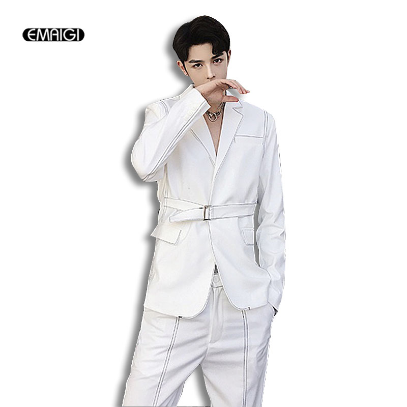 Men Fashion Casual Suits Sets (jacket+pant) Male White Black Gray Slim Fit Blazer Jacket Trousers Wedding Party Suits