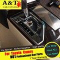 A & T Para Camry panel de Engranajes de lentejuelas de cromo styling car 2015 2016 Para Camry Molduras Interiores pegatinas de engranajes marco del panel