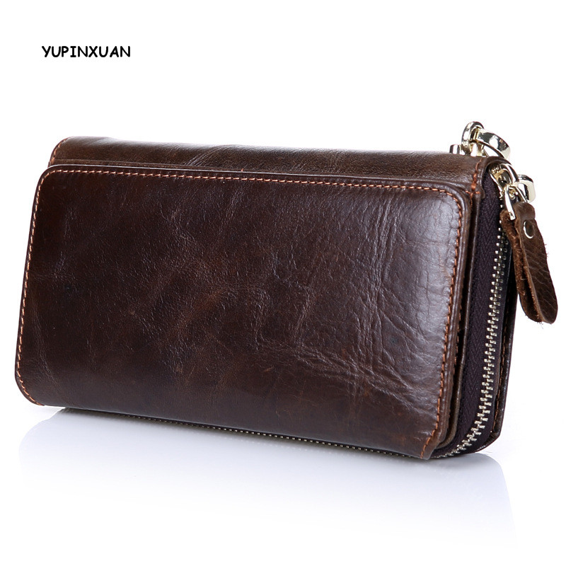YUPINXUAN Luxury First Layer Cowl Leather Purse Men's Oil Wax Retro Multi-Cards Long Wallet Male Money Clutch Large Capacity dollar price new european and american ultra thin leather purse large zip clutch oil wax leather wallet portefeuille femme cuir