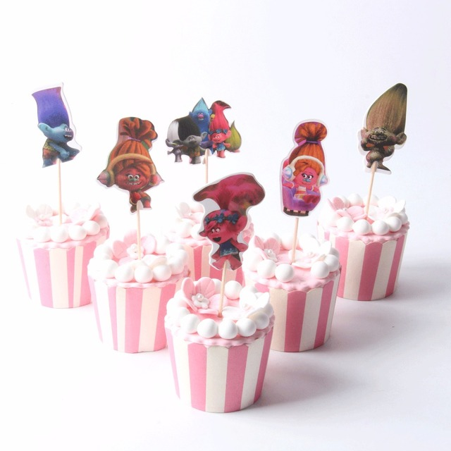 96pcs/lot Party Supplies Trolls Cupcake ToPper Baby Shower Birthday ...