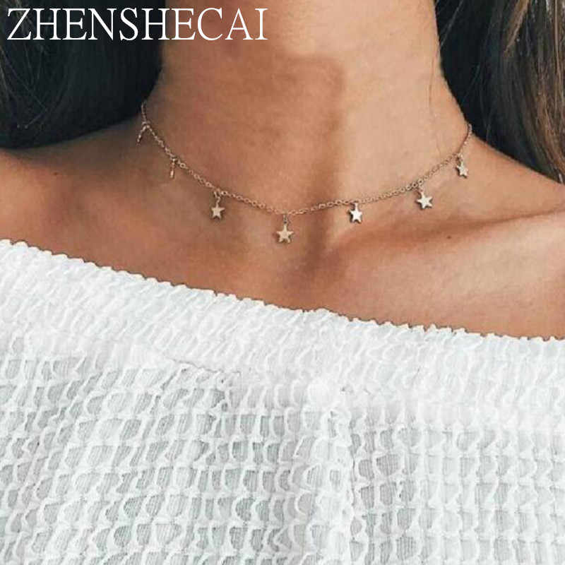 Boho Star Simple Pendant Necklace for Women 2018 Bohemian summer Necklaces Vintage Fashion Necklace Jewelry wholesale x36