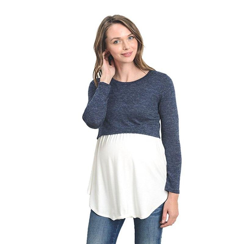 2018 Long Sleeve Maternity clothing Nursing Breastfeeding T-Shirt Winter Nursing Tops for Pregnant Women Maternity Sweater