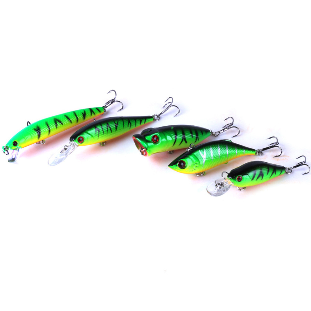5Pcs Fishing Lures Kinds of Minnow Fish Bass Tackle Hooks Baits 2017,JULY,10