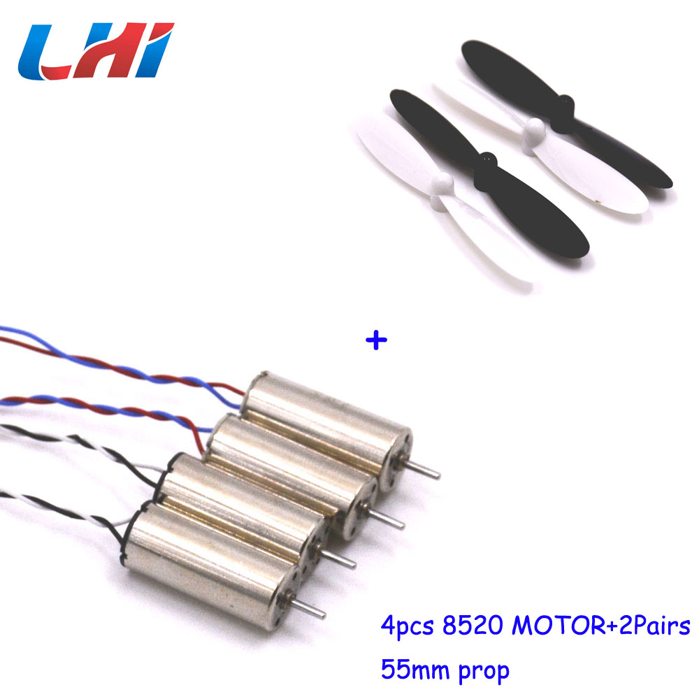 8520 8.5x20mm Coreless Motor+RC 4 pcs propellers for 90mm-150mm DIY Micro FPV RC Quadcopter Frame 4pcs
