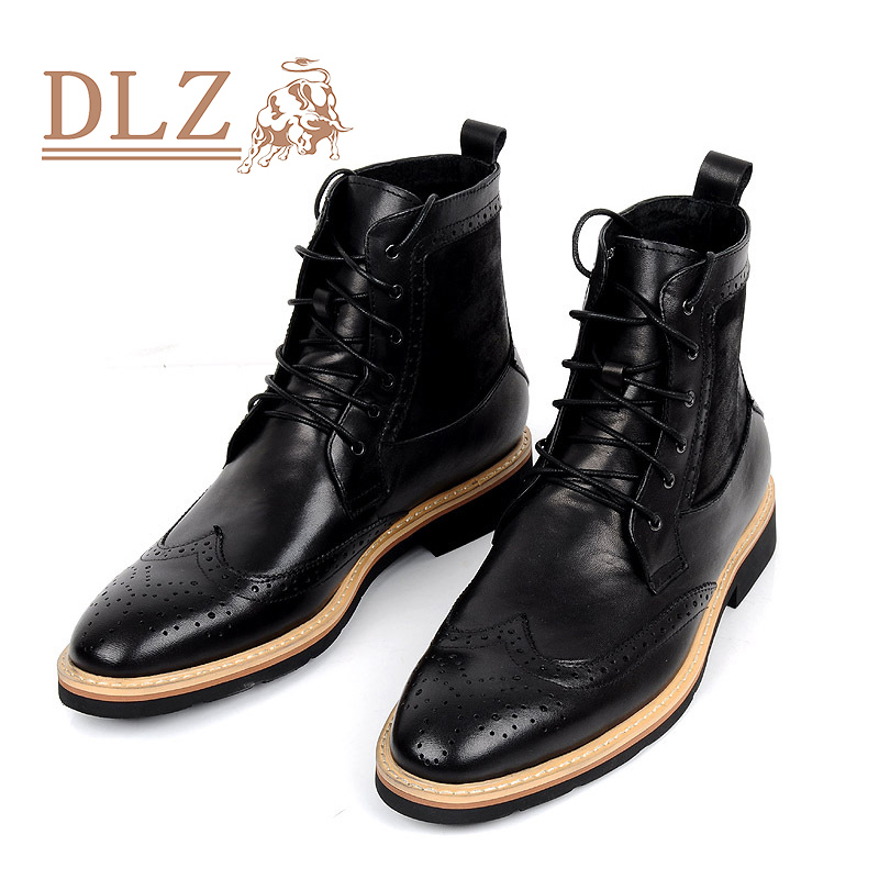 ea97f76417b643 2016 Luxury Brand Mens Dress Boots Genuine Leather Lace-up Round Toe Black  Brown Ankle Italian Designer Formal Shoes Size 38-44