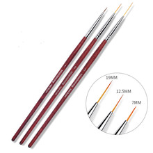 3 Size Wooden Handle Nail Art Liner Brush Grid Stripe Wide Gel Brushes Pen Manicure Accessories Tools