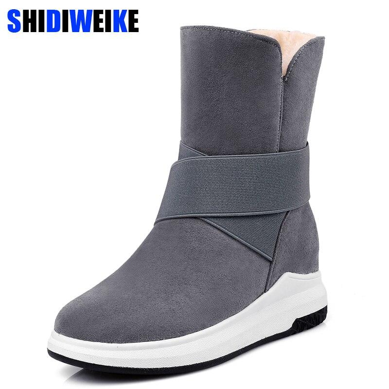 Las mujeres de invierno zapatos de mujer botas media pantorrilla la nueva Beige gris negro de moda casual planos de moda de mujer caliente botas de nieve n287