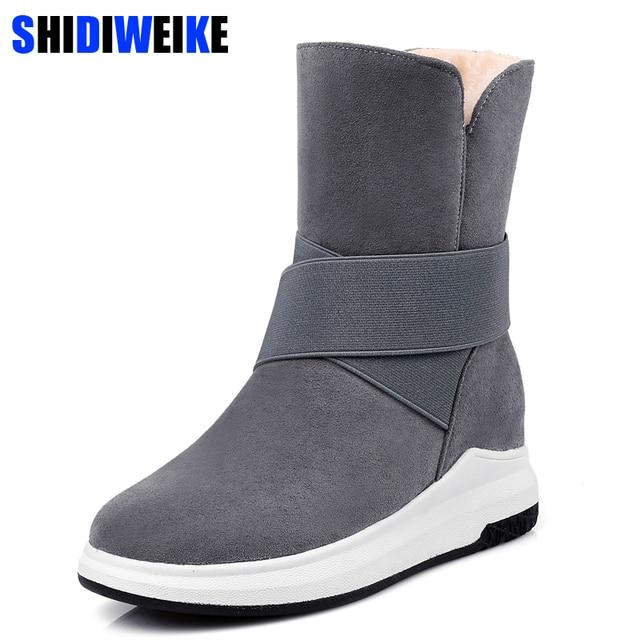 Phụ nữ giày mùa đông phụ nữ Trung-Calf boots mới Màu Be Màu Xám Đen thời trang thời trang giản dị phẳng ấm phụ nữ tuyết khởi động n287