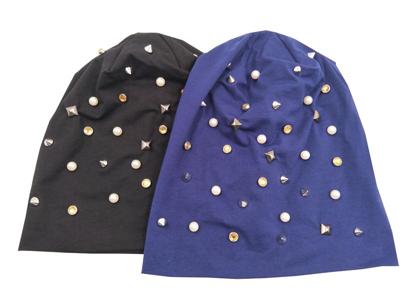 B17935 newest fashion pun spring beanies Elastic cotton beige pearl and crystal hats square stud/rivet decoration hats for women foppapedretti passenger spring arancio beige