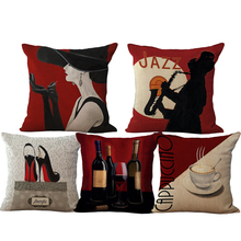 2018 Romantic Red Wine Cotton and Linen Square Printed Cushion Cover Pillowcase Elegant Woman  Wholesale