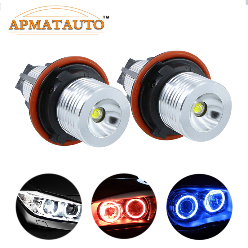 2Pcs Error Free LED Angel Eyes Marker Lights Bulbs For BMW E39 E53 E60 E61 E63 E64 E65 E66 E87 525i 530i xi 545i M5 free sgipping latest new 12v 20w led marker car angel eyes bulb for bmw e39 e53 e61 e64 e65 e66 e87 led headlight bulbs