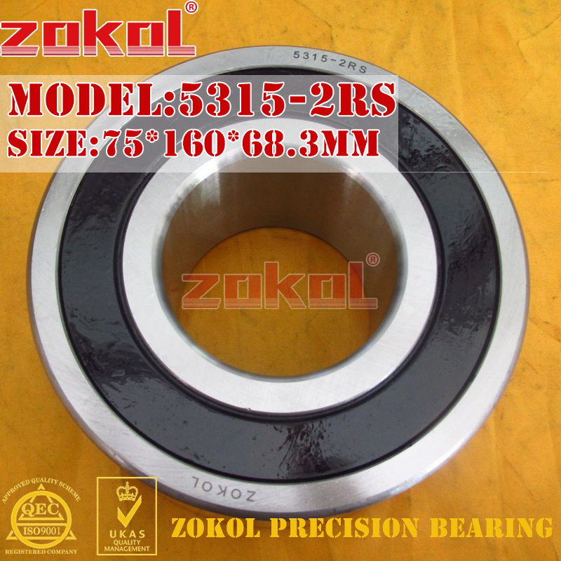 ZOKOL bearing 5315 2RS 3315 2RZ (3056315) Axial Angular Contact Ball Bearing 75*160*68.3mm 7805 2rsv 7805 angular contact ball bearing 25x37x7 mm for fsa mega exo raceface shimano token bb70 raceface bottom brackets